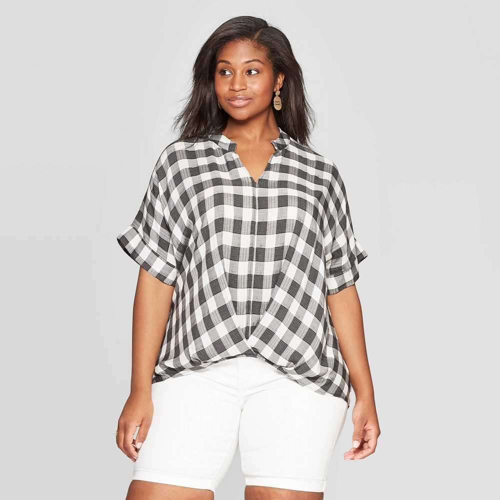 Women's Plus Size Plaid Short Sleeve V-Neck Wrap Front Top - Universal Thread Black 1X