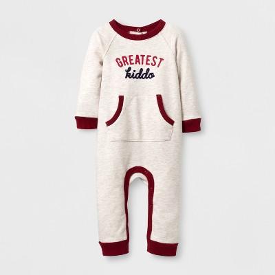 Baby Boys' 'GREATEST kiddo' Long Sleeve Romper - Cat & Jack™ Cream Newborn