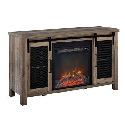 "Rustic Farmhouse Fireplace TV Stand for TVs up to 55"" - Saracina Home"