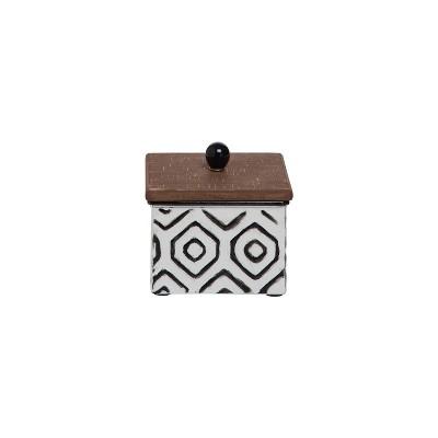 White Enamel Geometric Pattern Wood and Metal Jewelry Trinket Storage Box - Foreside Home & Garden