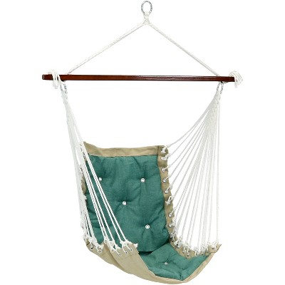 Sunnydaze Large Tufted Victorian Hammock Chair Swing for Backyard and Patio -  300 lb Weight Capacity - Sea Grass
