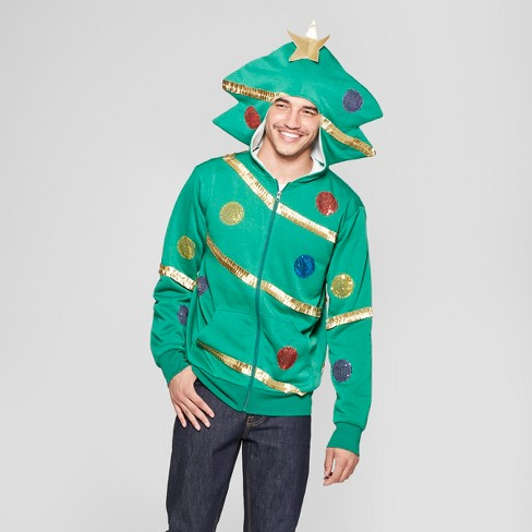Mens Ugly Christmas Fleece Extreme Tree Trim Long Sleeve Sweatshirt