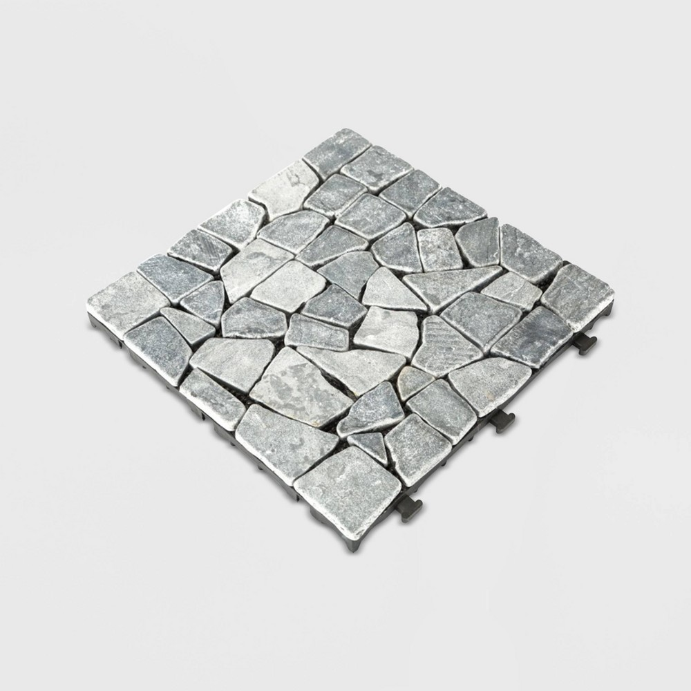 Image of 6pc Natural Tavertine Stone Deck Tile Set - Gray - Courtyard Casual
