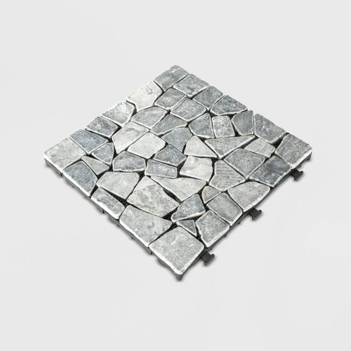 6pc Natural Tavertine Stone Deck Tile Set - Gray - Courtyard Casual