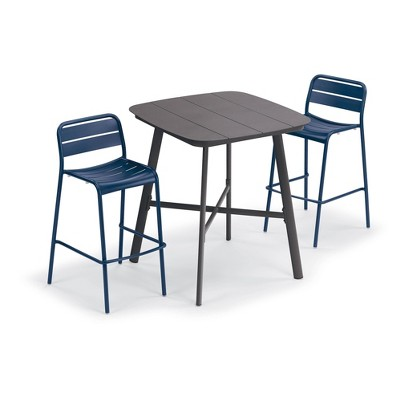 "Eiland 3pc Patio Set with 36"" Square Bar Table & 2 Kapri Bar Chairs - Oxford Garden"