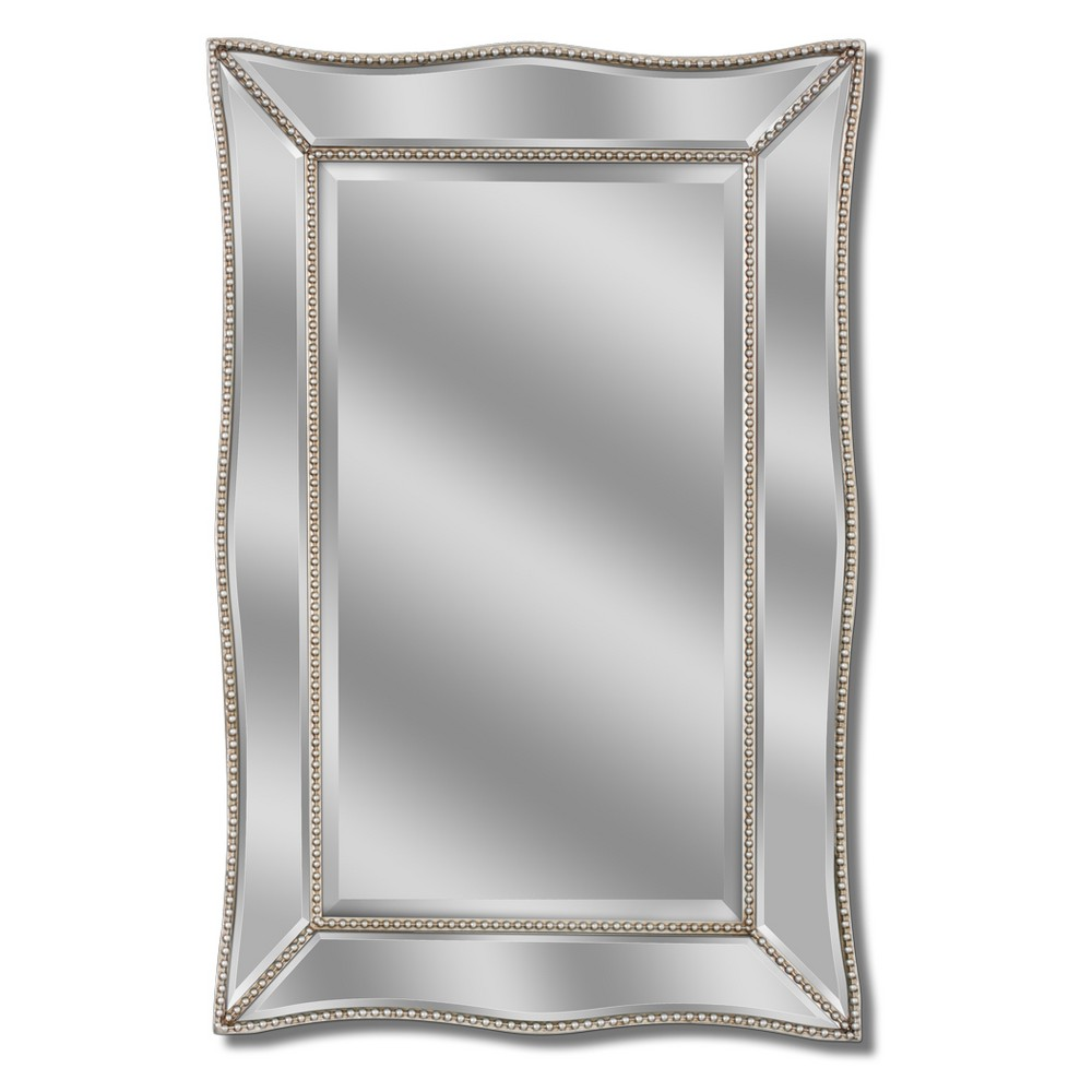 "Image of ""Head West 24"""" x 36"""" Scalloped Metro Beaded Mirror"""