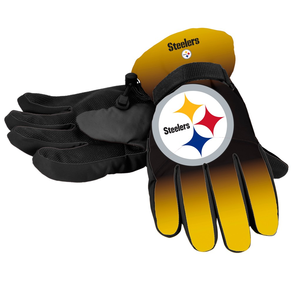 NFL Pittsburgh Steelers Big Logo Insulated Gloves - L/XL, Adult Unisex