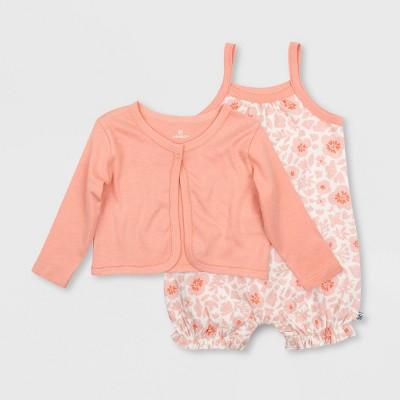 Honest Baby Girls' 2pc Organic Cotton Sugar Swizzle Bubble Romper and Linear Dot Cardigan Set - Pink 3-6M