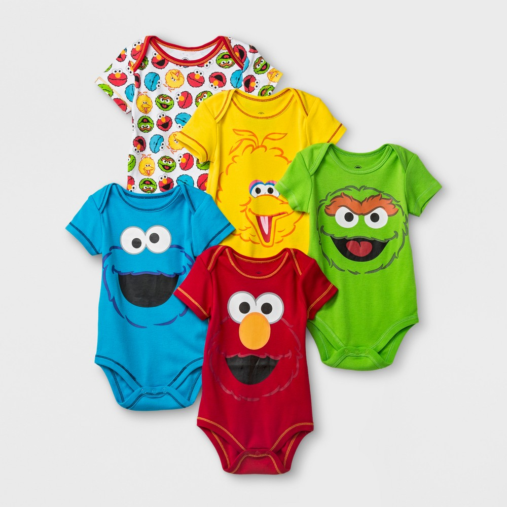 Image of Baby 5pk Sesame Street Elmo/CookieMonster/Oscar the Grouch/Big Bird Bodysuit - Red/Yellow/Blue 0-3M, Kids Unisex, MultiColored