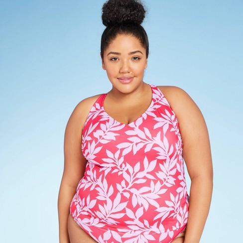 Women's Plus Size V-Neck Tankini Top - All in Motion™ Red Floral 16W - image 1 of 3