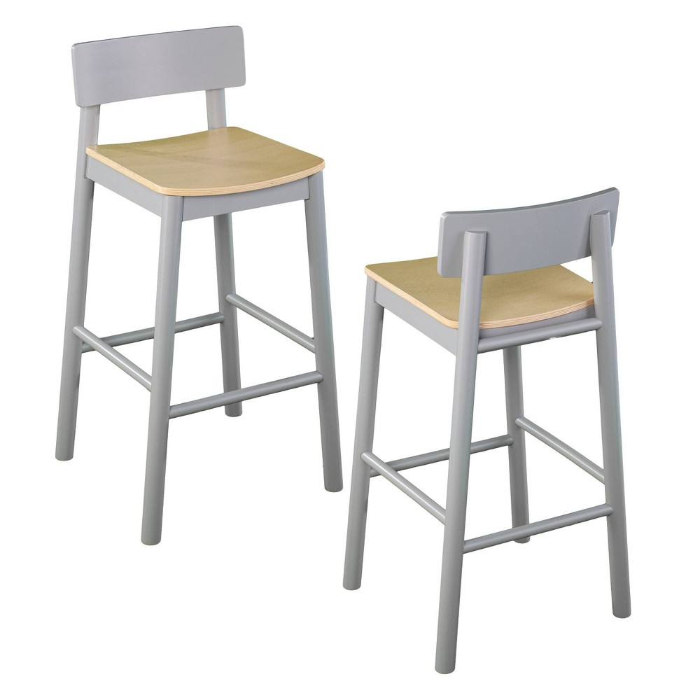 Set Of 2 Poyor 37 5 34 Two Tone Counter Height Barstools Gray Natural Aiden Lane