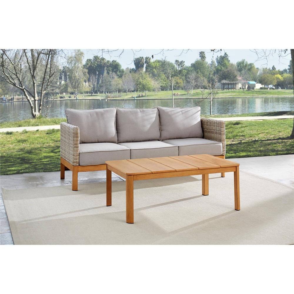 2pc Deep Seating Wicker Patio Sofa And Coffee Table Tan Gray Room 38 Joy
