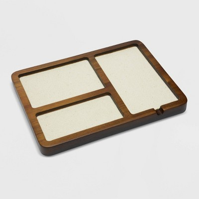 Medium Acacia Wood With Canvas Valet Tray - Goodfellow & Co™ Olive/Brown