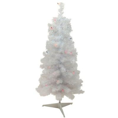 Northlight 3' Prelit Artificial Christmas Tree Slim White Tinsel - Multi-Color Lights