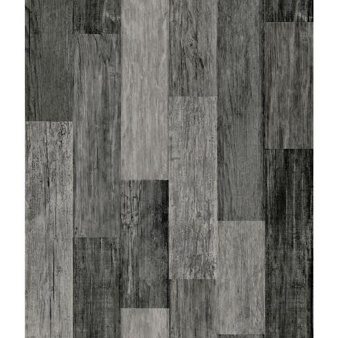 Roommates Weathered Wood Plank Peel Stick Wallpaper Black Target