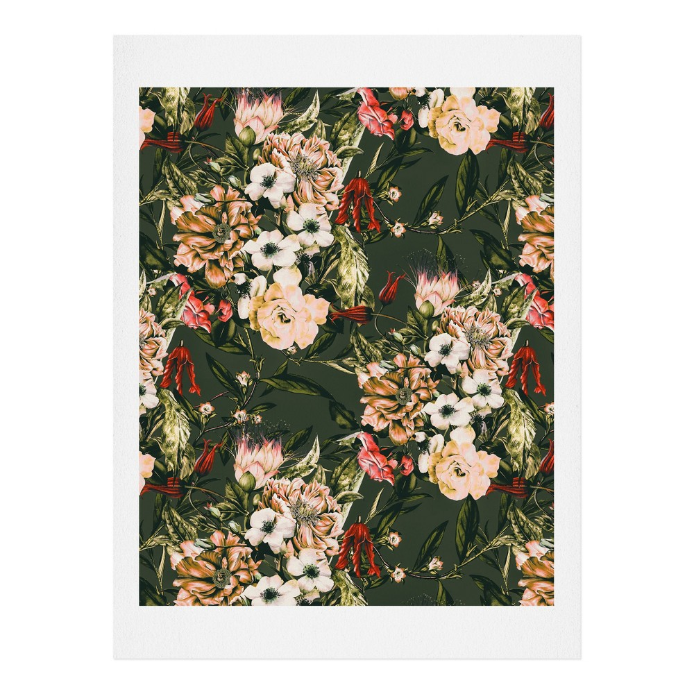 "Image of ""11""""x14"""" Marta Barragan Camarasa Dark Wild Floral Art Print Unframed Wall Poster Black - Deny Designs"""