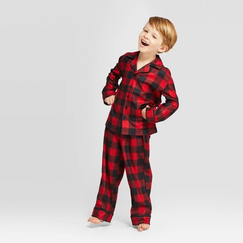 Kids' Holiday Buffalo Check Pajama Set - Wondershop™ Red - image 1 of 4