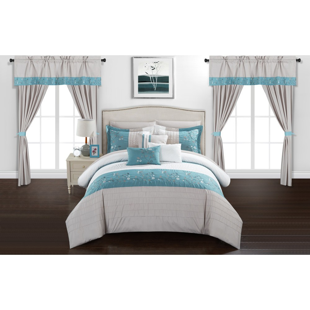 Queen 20pc Sonjae Bed In A Bag Comforter Set Blue Chic Home