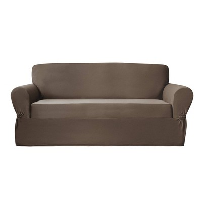 Stretch Plush Sofa Slipcover Chocolate Brown - Zenna Home