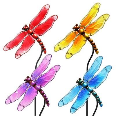 "4pk 26"" Resin/Glass Dragonfly Garden Stakes - Exhart"