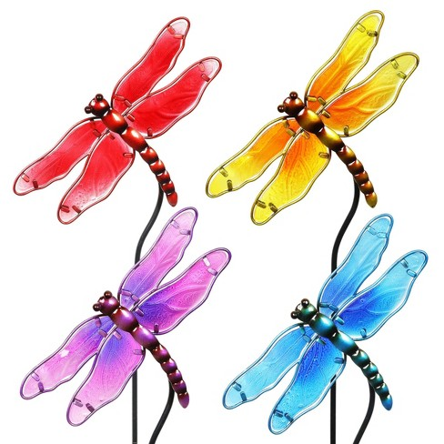 """4pk 26"""" Resin/Glass Dragonfly Garden Stakes - Exhart - image 1 of 2"""