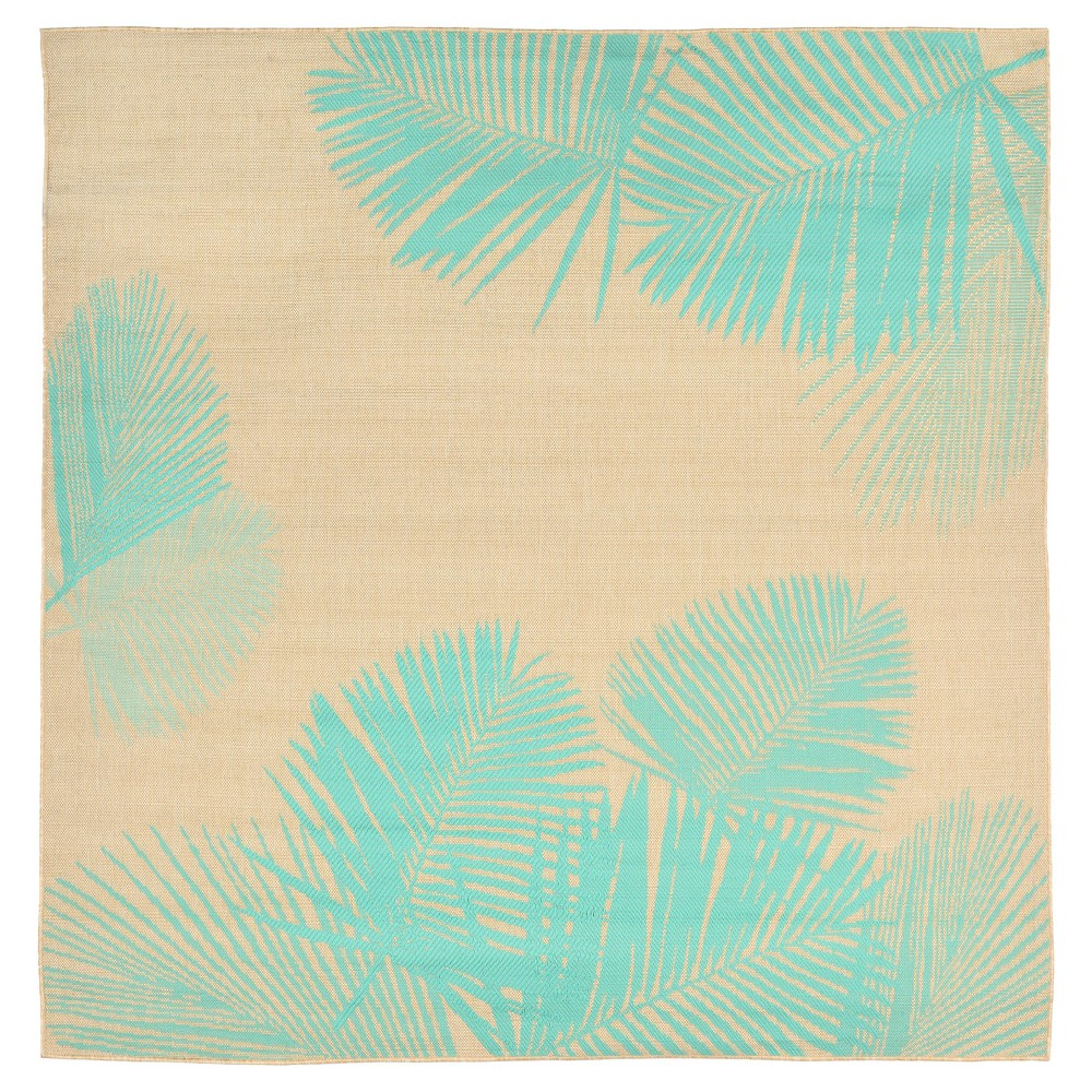 Terrace Indoor/Outdoor Palm Turquoise Square Rug 7'10 Natural - Liora Manne, Beige