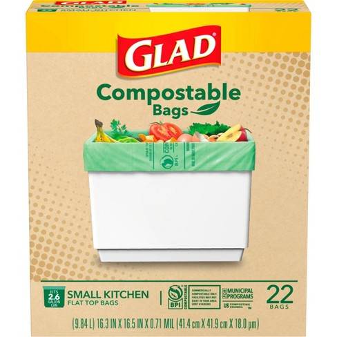 Glad Compostable Small Kitchen Flat Top Trash Bags - 2.6 Gallon - image 1 of 4