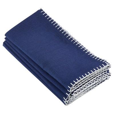 4pk Navy Blue Celena Whip Stitched Design Napkin 20  - Saro Lifestyle®