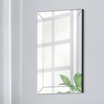 "16""x24"" Mirror Framed Beveled Wall Accent Mirror Silver - Gallery Solutions"