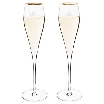 2ct Mrs. & Mrs. Gatsby Gold Rim Champagne Flutes
