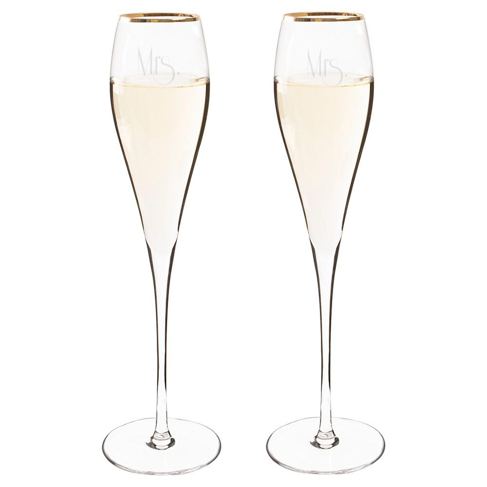 2ct Mrs Mrs Gatsby Gold Rim Champagne Flutes