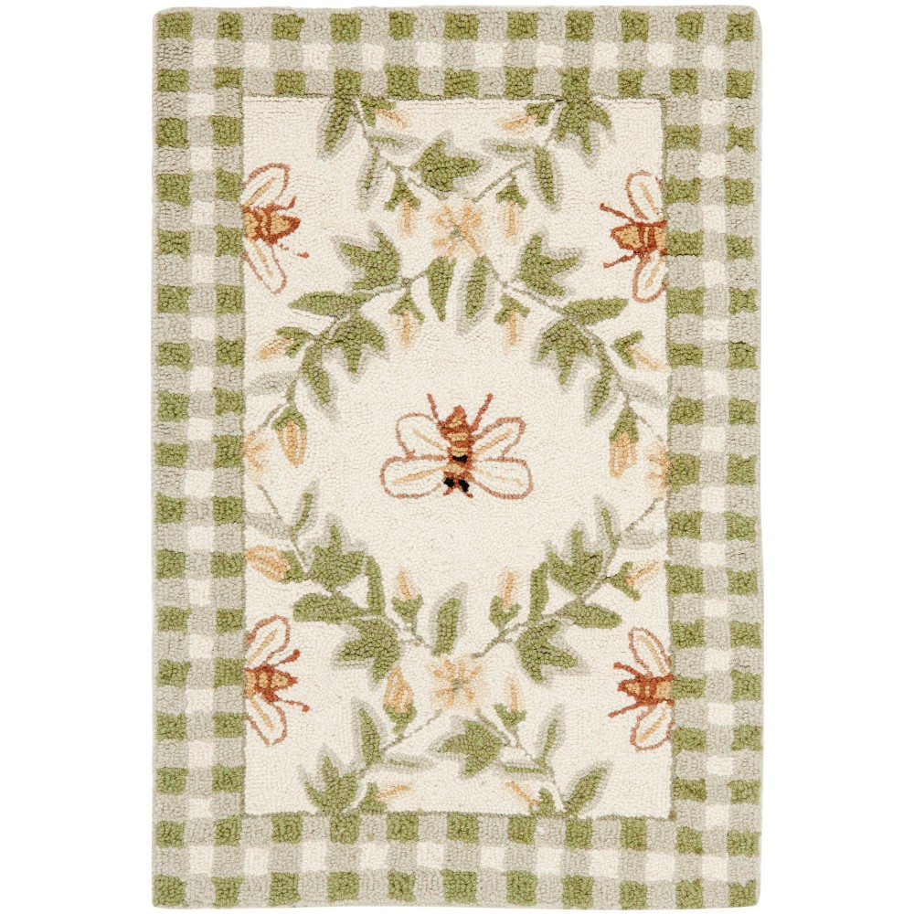 Bee Hooked Accent Rug Ivory/Green