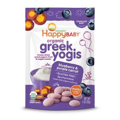 HappyBaby Organic Greek Yogis Blueberry & Purple Carrot Baby Snacks -1oz