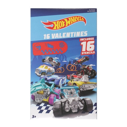 Hot Wheels 16ct Valentines With Stencil - image 1 of 1