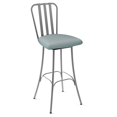 """Club Swivel 26.75"""" Counter Height Barstool - Silver/Light Blue - Amisco"""