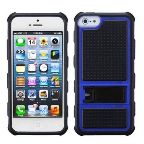 MyBat Gummy Stand PC/Silicone Case Cover Compatible With Apple iPhone 5/5S/SE, Black/Blue - image 1 of 4
