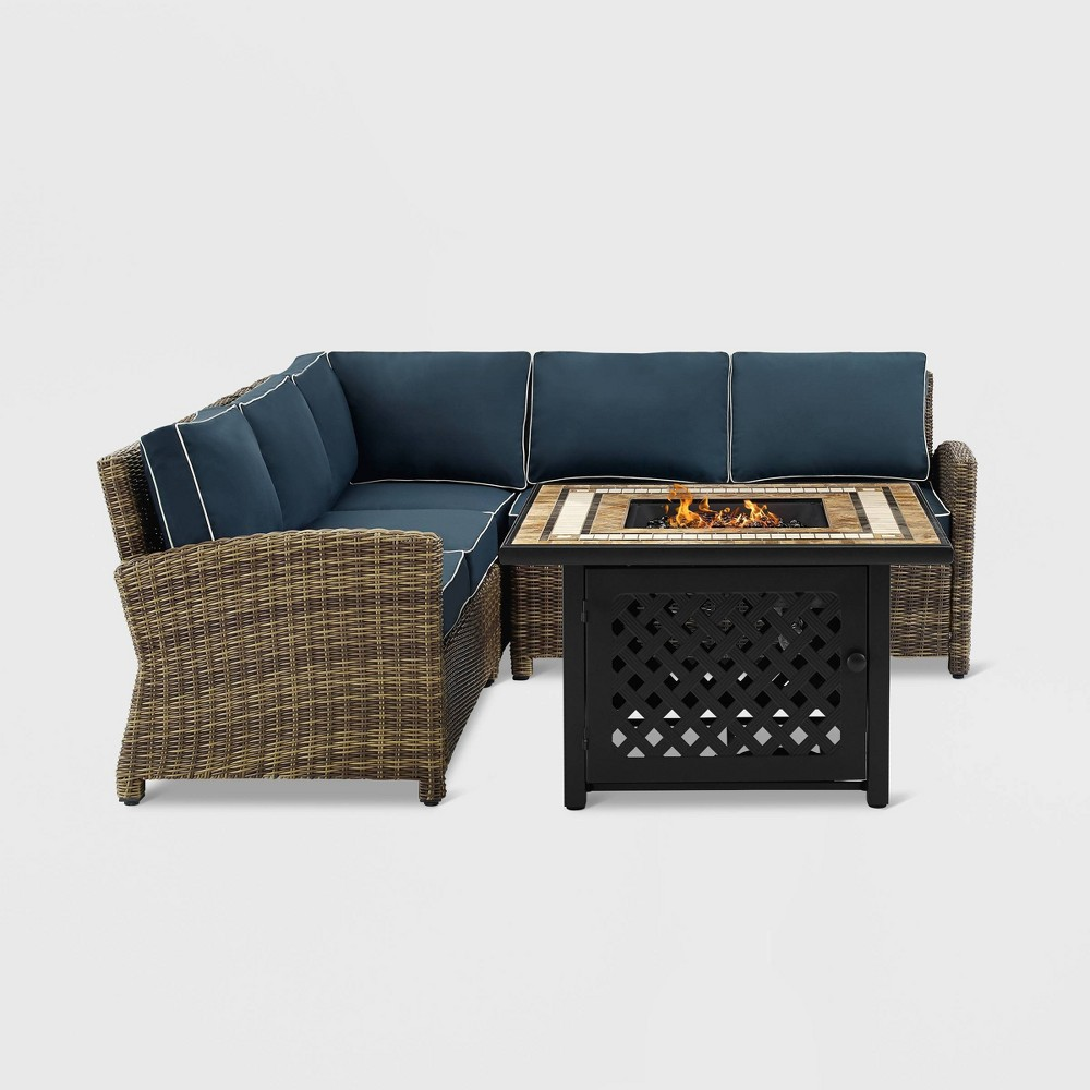 4pc Bradenton Outdoor Wicker Seating Set with Navy Cushions Brown - Crosley