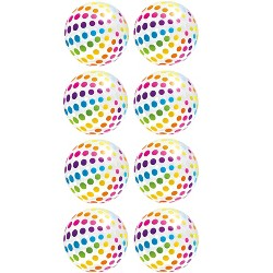 Intex Jumbo Inflatable Big Panel Colorful Polka Dot Giant Beach Balls (Set of 8)