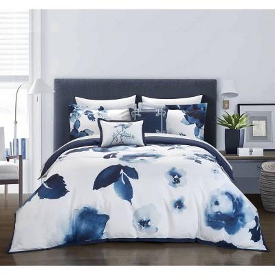 King 9pc Central Garden Bed In A Bag Comforter Set Blue - Chic Home Design