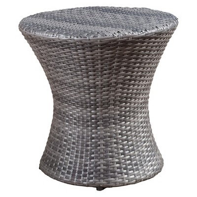 Adriana Wicker Patio Accent Table - Gray - Christopher Knight Home