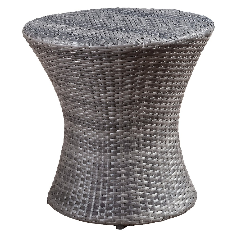 Adriana Wicker Patio Accent Table Gray Christopher Knight Home