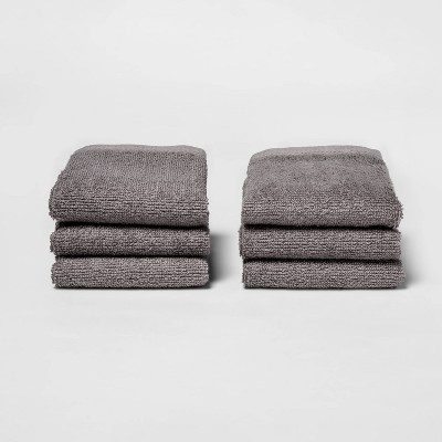 6pk Washcloth Set Dark Gray - Room Essentials™