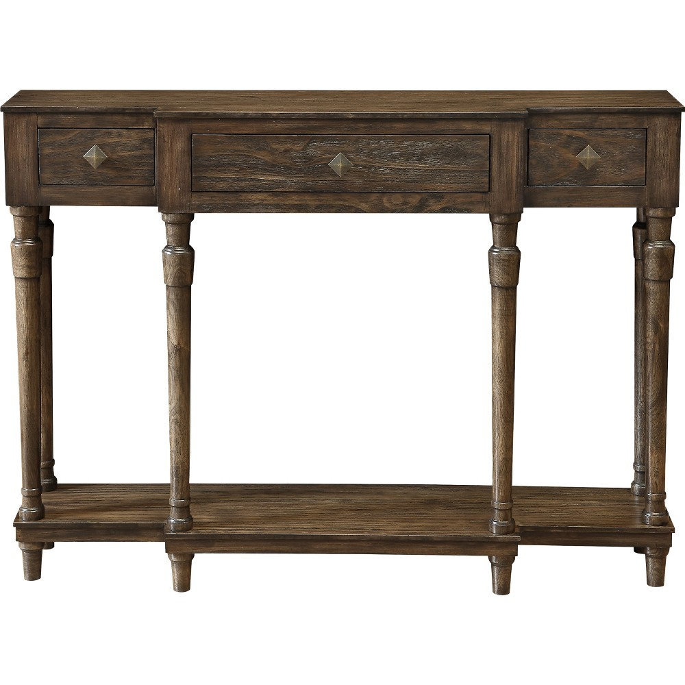 Vintage 3 Drawer Console Table Brown - Treasure Trove