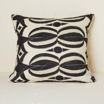 Euro Printed Quilt Sham Black/Tan - Opalhouse™ designed with Jungalow™