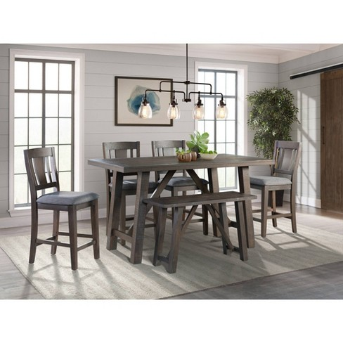 6pc Carter Counter Height Dining Set Table Graphite Gray - Picket House  Furnishings
