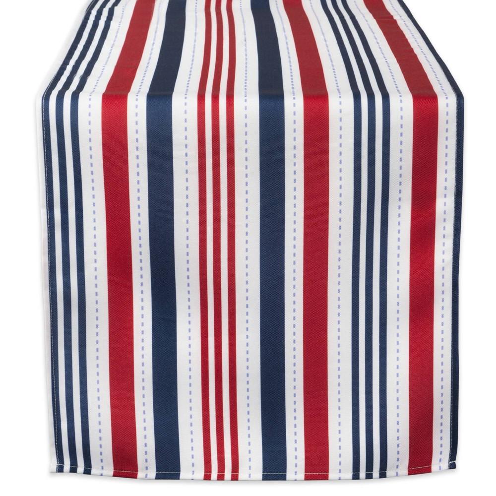 72 X14 Patriotic Stripe Table Runner Blue Red Design Imports