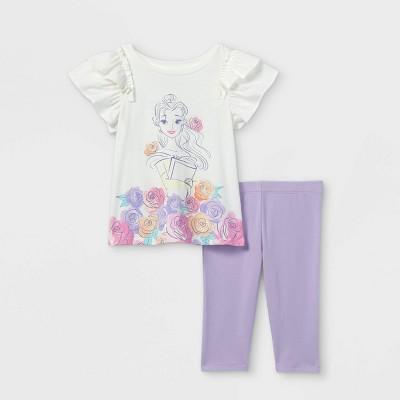 Toddler Girls' Disney Princess Belle Short Sleeve Top and Bottom Set - Purple