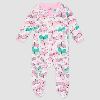 Honest Baby Girls' Organic Cotton Flutter Sleeve Pajama Jumpsuit - Purple