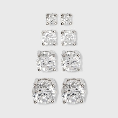 Sterling Silver Cubic Zirconia Quad Multi Size Stud Earring Set 4pc - A New Day™ Clear