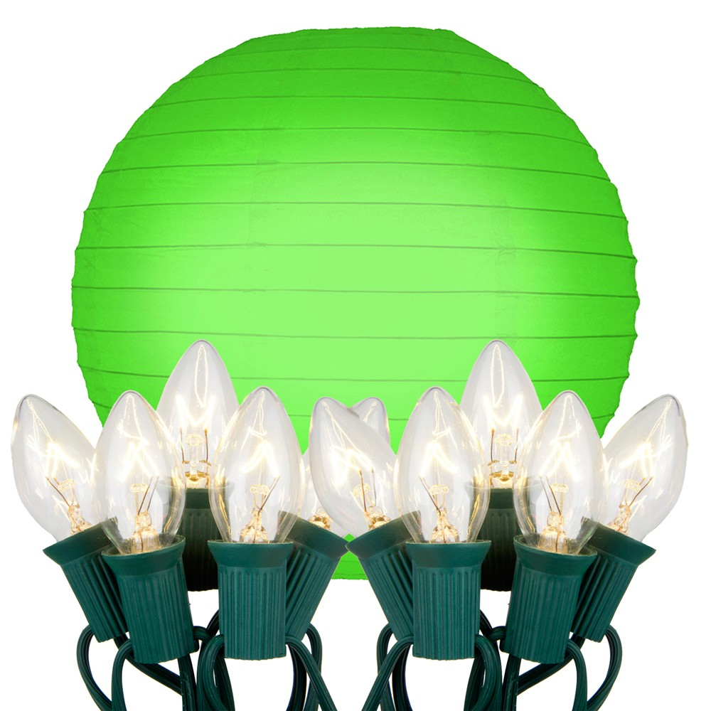 "Image of ""10ct 10"""" Electric String Light with Paper Lanterns Green"""
